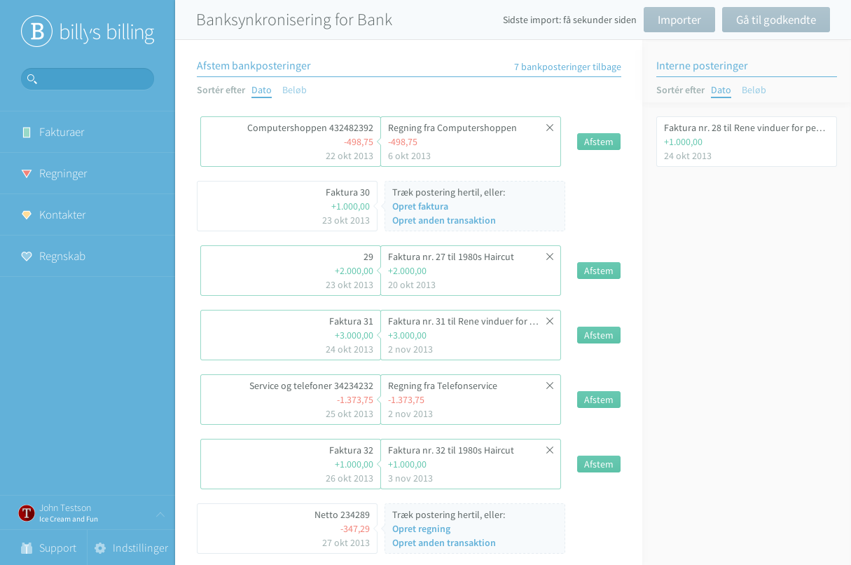 Billy Regnskabsprogram Banksynkronisering for Bank
